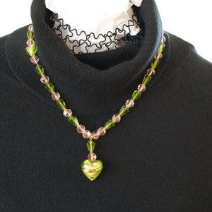 Peridot color and Pink Swarovski crystals necklace